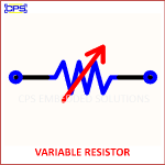 VARIABLE RESISTOR ELECTRONIC SYMBOL OR SCHEMATIC SYMBOL