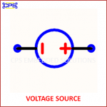 VOLTAGE SOURCE ELECTRONIC SYMBOL OR SCHEMATIC SYMBOL